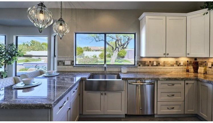 kitchen with grey granite, kitchen with grey ceiling, kitchen with grey accessories, kitchen with grey backsplash, kitchen with grey marble, kitchen with grey tile, kitchen with grey walls, kitchen with grey flooring, kitchen with grey paint, on kitchen ideas with grey counter