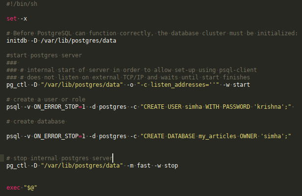 exec command & logic used in docker-entrypoint sh scirpt to