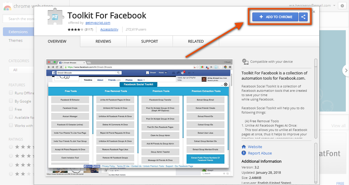 "1  Install ""Toolkit for Facebook"" chrome extension — Yes, that the"