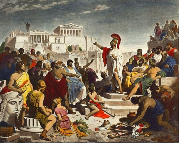Pericles' Funeral Oration by Philipp Foltz depicting the Athenian politician who used ostracism to have his rival Cimon, exiled | Wikipedia | Public Domain