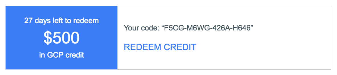 Redeem and use Google Cloud Platform Credit before it expires