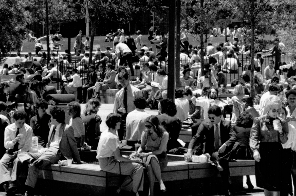 Crowds in Atlanta's Woodruff Park