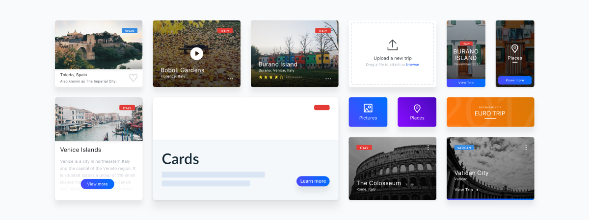 Not just boxes: card components in design systems