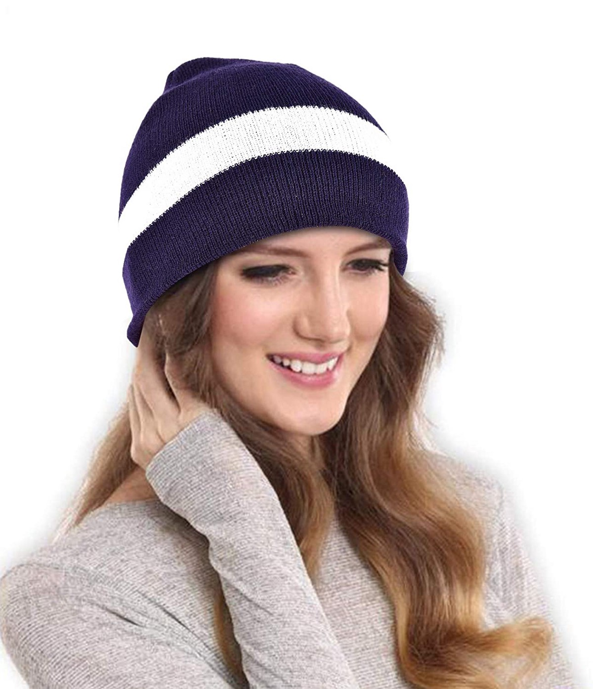 Drunken Women S Winter Cap Striped Warm Woollen Beanie Cap Blue Free Size Habibkamal Medium