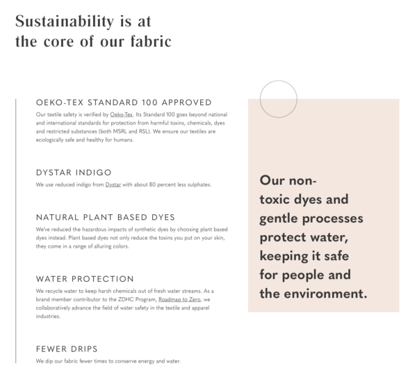 Screenshot of a section of the sustainability page on the Boyish website talking about their chemical free processes/ fabrics