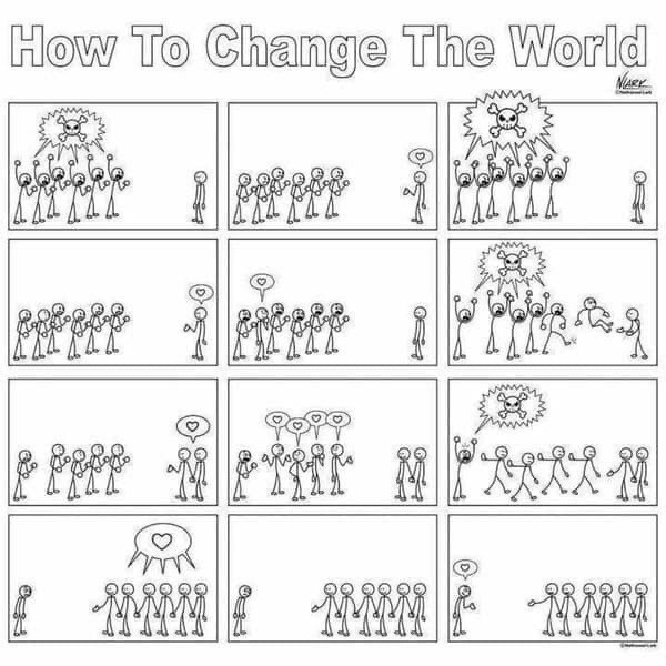 """A cartoon called """"How to change the world"""" showing little stick men all angry, and one on his own. The one shows love and gradually they all come to join."""