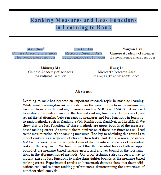 Archived Post ] Ranking Measures and Loss Functions in