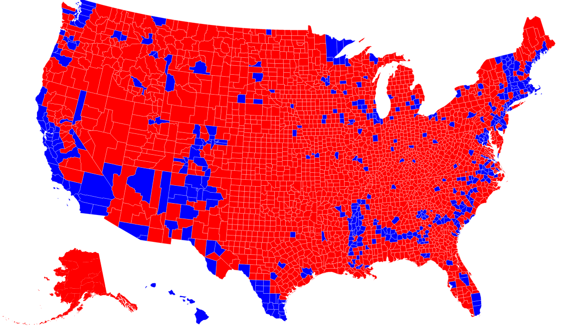 """Republicans Are """"Clustered"""" By County, Democrats Are """"Clustered"""" By ..."""