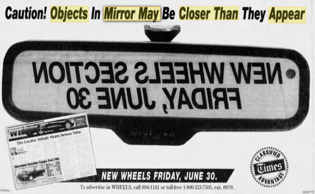 Objects In Mirror May Be Closer Than >> Objects In Mirror May Be Closer Than They Appear Objects In