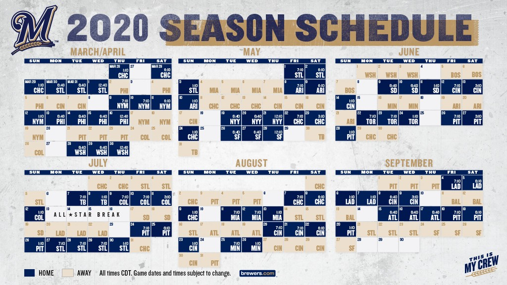 Milwaukee Brewers 2020 Schedule BREWERS ANNOUNCE 2020 REGULAR SEASON SCHEDULE   Cait Covers the Bases