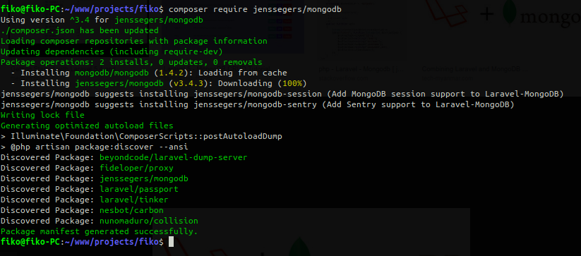 Install MongoDB on Laravel Project — Jenssegers/MongoDB