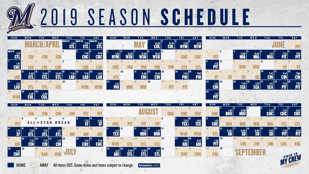 2019 Brewers Schedule BREWERS ANNOUNCE 2019 SEASON SCHEDULE   Cait Covers the Bases