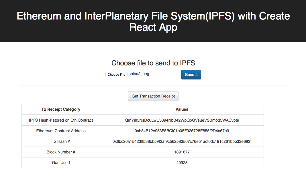 Build a simple Ethereum + InterPlanetary File System (IPFS)+ React