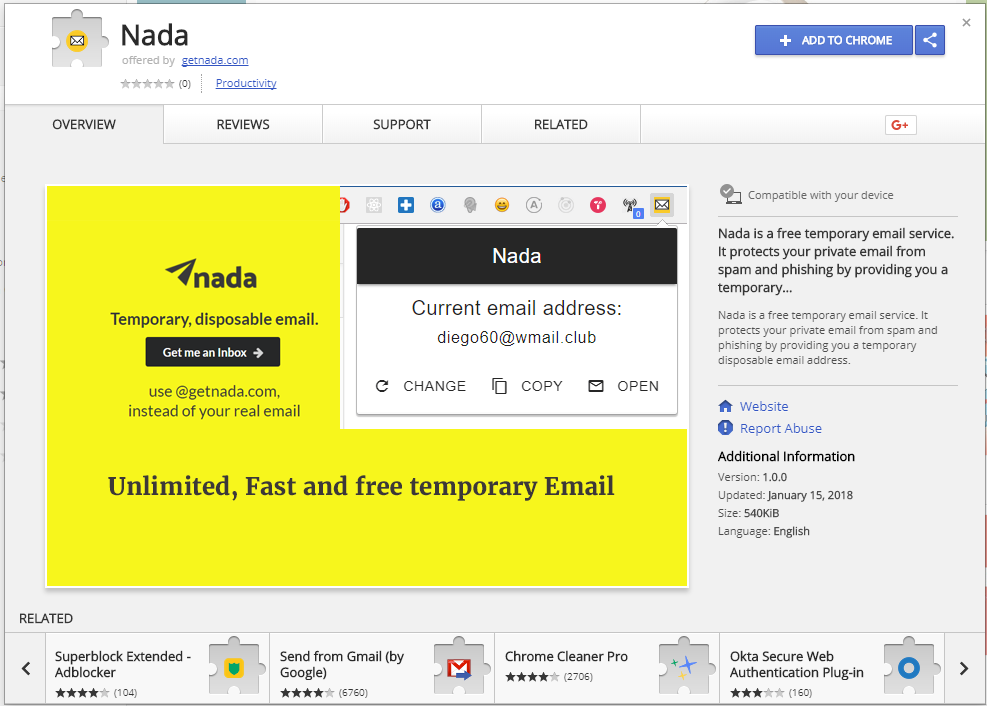 Chrome Extension is ready - nada — temporary email