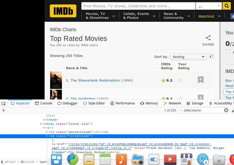 Scraping data from IMDb top 250 movies page with fields name, year