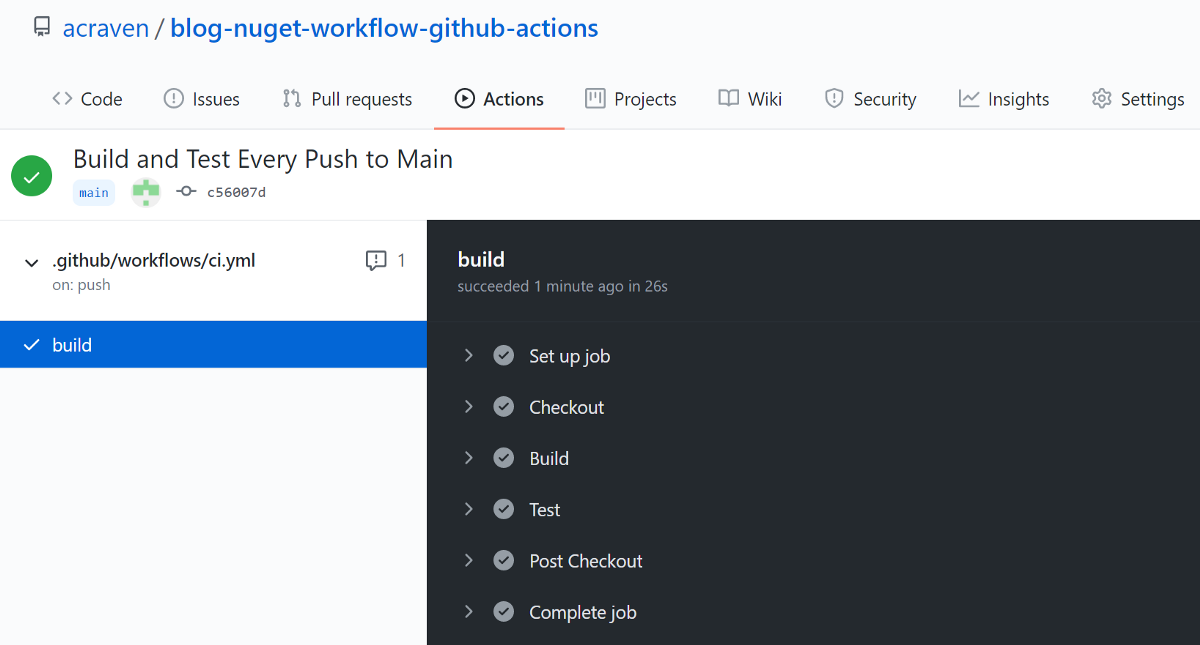 A NuGet package workflow using GitHub Actions