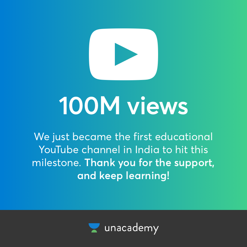 100M Views on YouTube! - Unacademy Blog