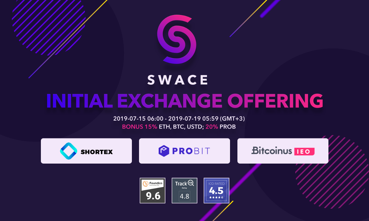 SWACE IEO To Take Place on ProBit, Shortex and Bitcoinus; SWACE Token to Be Immediately Listed…