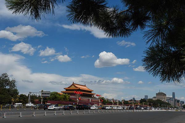 Clear sky over a temple in Beijing