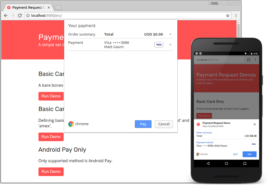 Hacking Chrome's Payment Request Api into PayPal's iframe buttons