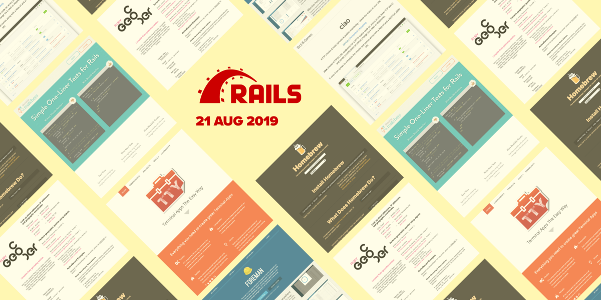 23 most popular Rails repositories on GitHub in August 2019