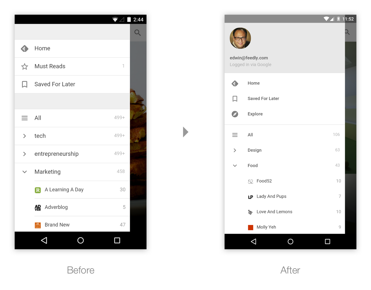 First implementation of Material Design