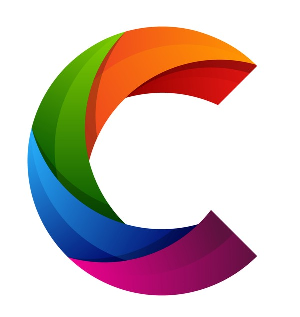 CryptoArtNet logo, a colorful letter C with prominent striations.