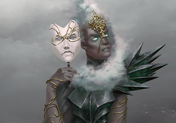 A headshot of a female storm giant. The woman is black with white cloud-like hair that wrap around her head and below her chin. She has blue luminescent eyes. She wears a black dress with a crystal-like shoulder piece. She has gold wire bracelets on both arms, from wrist to shoulder. She holds a white masquerade mask beside her face. Both faces are frowning.