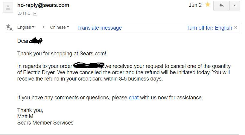 I Don't Think Sears Is Gonna Gave Me Back My 1327 Dollars in Refund