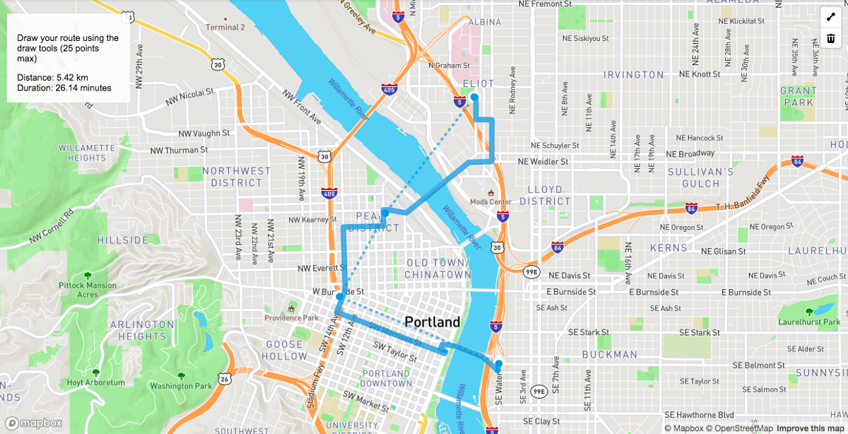 Map s: Directions API + draw tools - Points of interest Delivery Route Mapping on