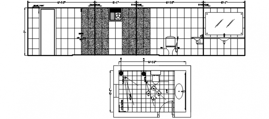 TOILET OF NIKIA HOUSE SECTION, PLAN AND INSTALLATION DRAWING DETAILS