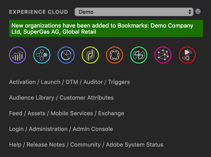 Auto Import Organizations into Adobe Experience Cloud Bookmarks
