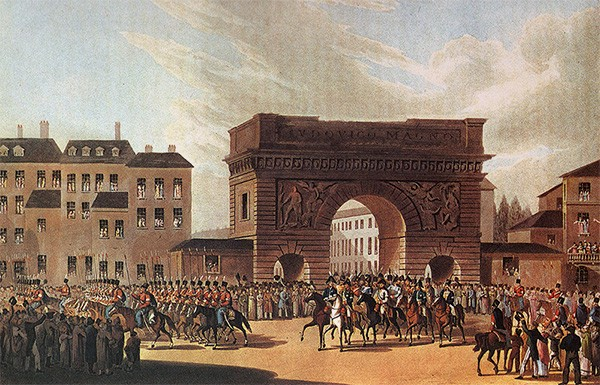 The Russian army — including Cossacks — marching into Paris next to the Arc de Triomphe in 1814.