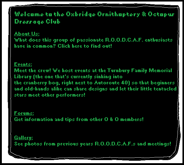 A webiste landing page circa 1997; green text on black background, with different descriptions of the O&O Club activities