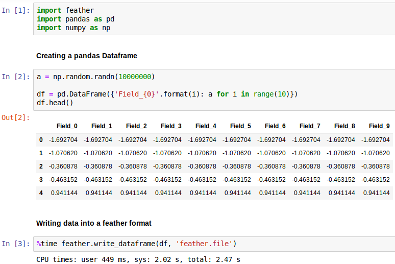 Feather — A Fast On-Disk Format for R and Python Data Frames