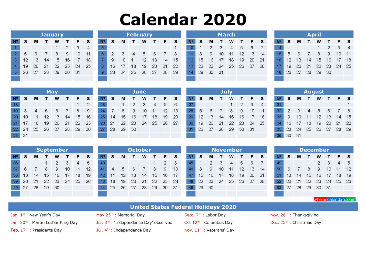 Free Printable 2020 Monthly Calendar with Holidays | by ...