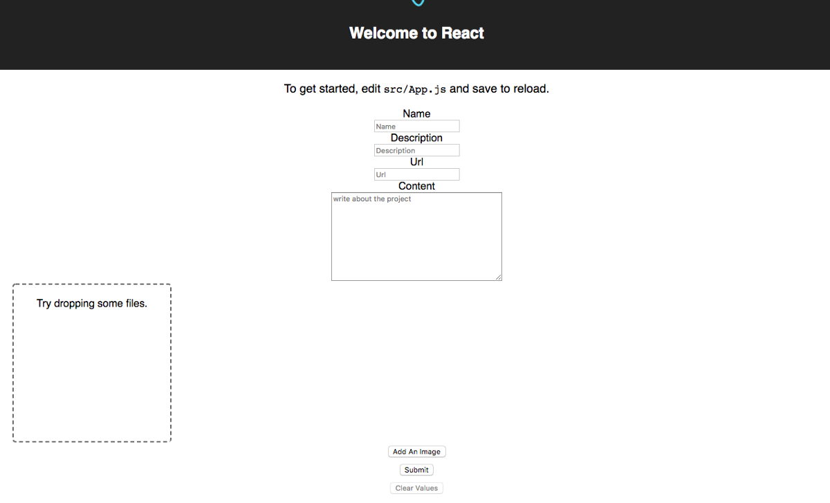 Uploading images using react JS redux and store it using