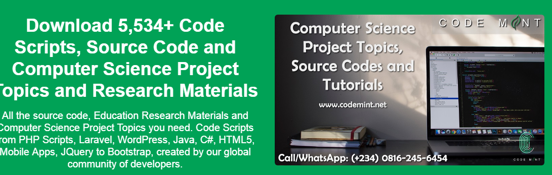 Computer Science Project Topics and Research Materials