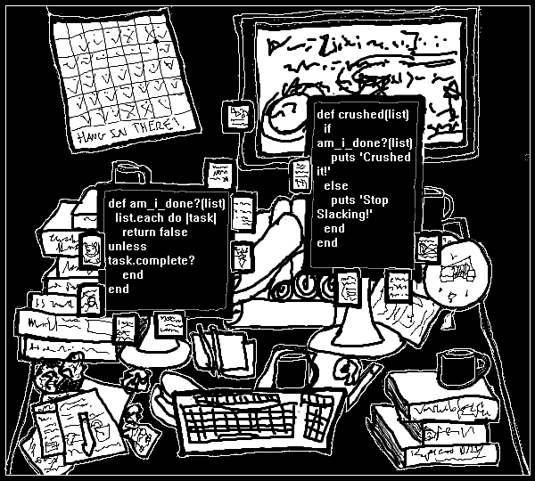 A disorganized desk covered with papers, books, half-eaten food, and notes. Two monitors display haphazard code