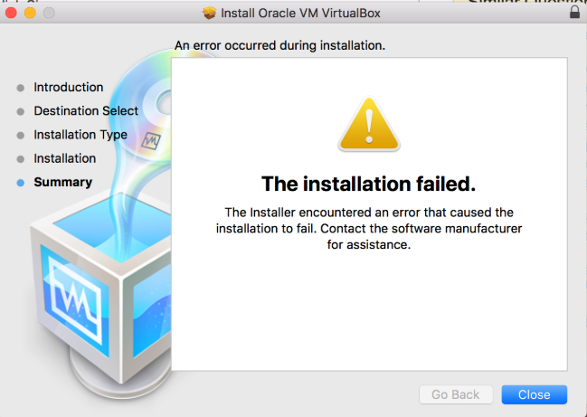 Fixing 'The Installation Failed' VirtualBox Error on Mac