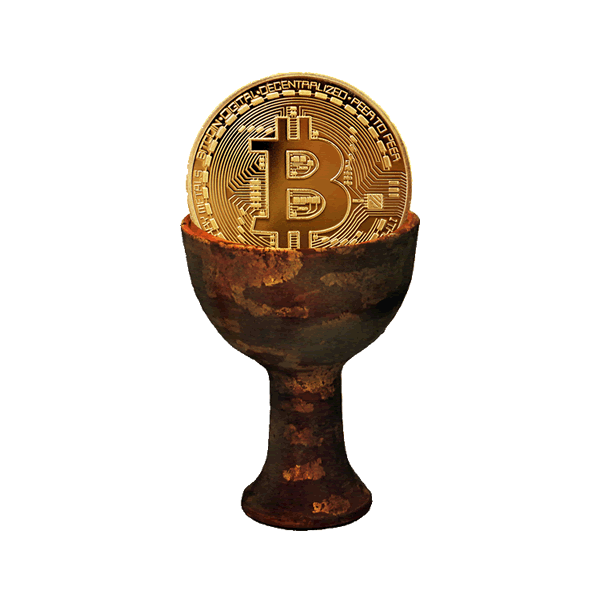 Holy Grail with a Bitcoin in it