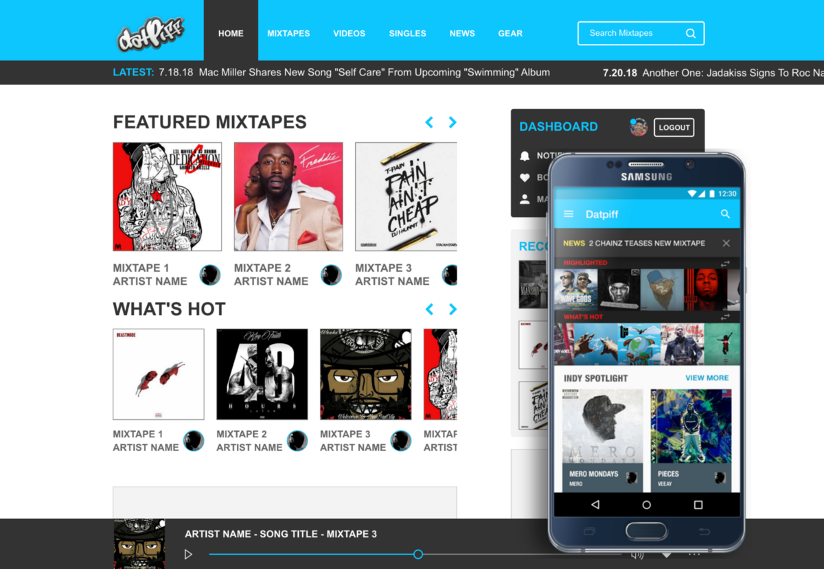 DatPiff Mixtapes Redesign Concept (2014–2018) - JAY OROS CO CASE