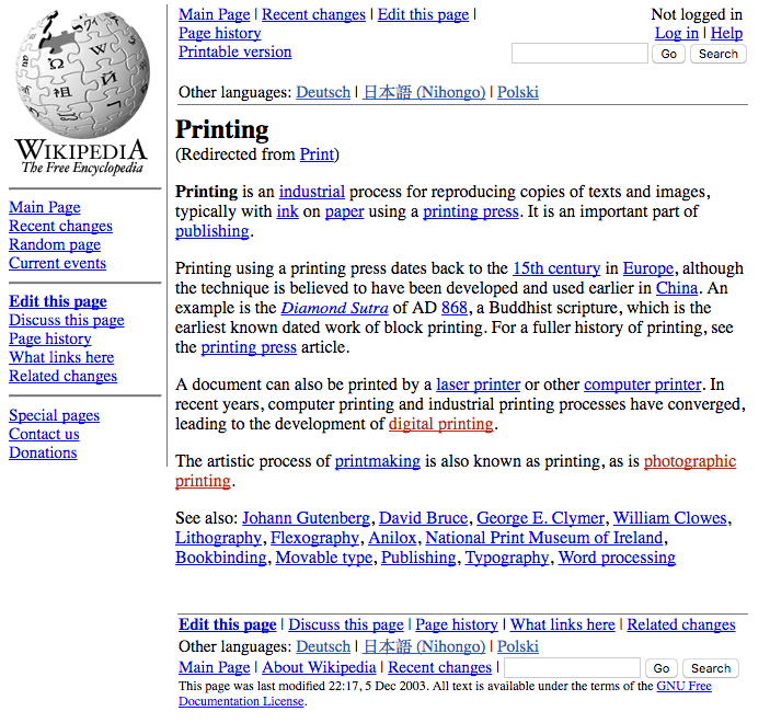 The neglected and meandering history of printing websites