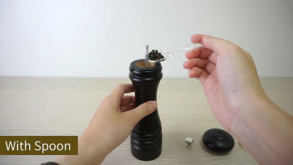 Use spoon to refill the salt and pepper grinder