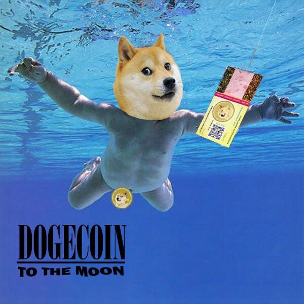 "A meme of the Dogecoin dog superimposed on top of a baby floating in a pool. It is a spin off of Nirvana's ""Nevermind"" album cover."