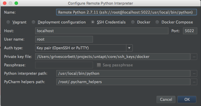 Integrating PyCharm and docker with debugging support