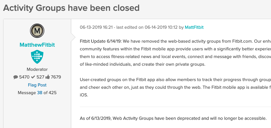 Fitbit Turns Off Web Community Features