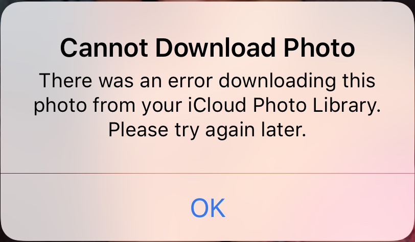Fix iCloud error — 'There was an error downloading this photo from