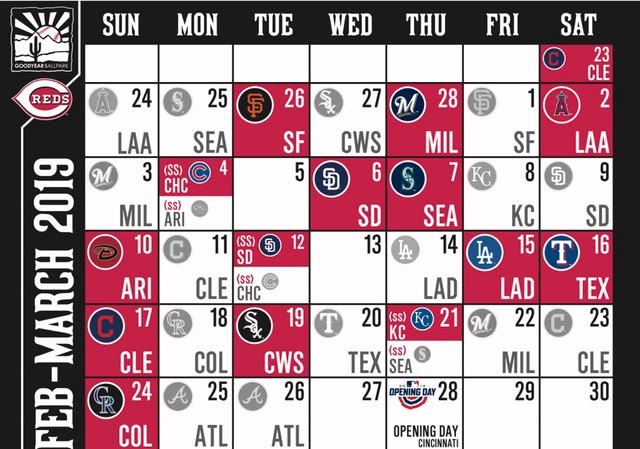 Cactus League Schedule 2019 Reds 2019 Spring Training Schedule Announced   Better Off Red